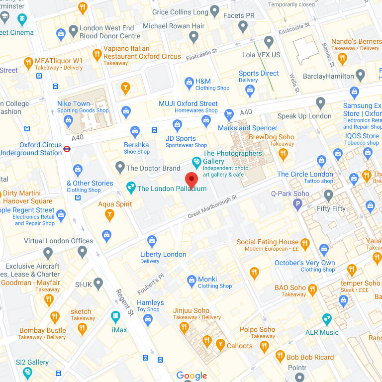 Google map location of London Studio - click to see interactive map
